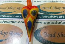 Artistic Glass Hearts by Rankoussi,  Bead Shop Rome.