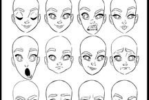 Drawing tutorials female faces / face proportion, hair, eyes, noses, ears and figures