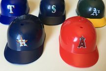 MLB Mini Plastic Baseball Helmets / These are our Mini Plastic Baseball Helmets.  We like to keep track of standings with these little MLB helmets.