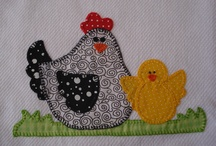 quilted chickens
