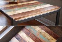 Tapa mesa con tablones de colores