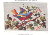 Berlin Woolwork - Animals - Birds / Exotic and domestic, the beautiful colors of birds inspired Berlin woolwork artists / by Laura Jones