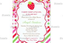 Berry Sweet Strawberry Baby Shower / This design features a red strawberry. The background consists of strawberries and daises on a pink background, pink, red and green stripes and a strawberry and daisy ribbon on a white background.