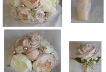 Vintage peony wedding bouquet / Beautiful vintage peach/pink champagne peonies and roses with matching pearls and vintage lace detail to handle.