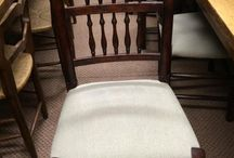 Dining Chairs / Antiques  dining chairs with gorgeous contrast of dark wood and pale material.