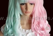 Princess Wig/ Hime Wig / Here you can find Lolita wigs with various styles such as Gothic wigs, sweet Lolita wigs and beautiful princess wigs. There are various colored wigs including white, black, purple, pink colored wigs; there are sweet wigs with pangs or curly ones; there are funky wigs which could also be used for cos-play, .