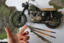 Motorcycle / Diorama / legenndary motorcycle  secne from the 1963 film The Great Escape with Steve Mcqueen and a Triumph ,scale 1:6 diorama By Gül ipek