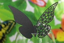 marque place papillon noir mariage,porte noms noir,etiquette noire