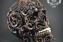 Detail Hand Carved Arang Wood Human Skull Filigree Memento Mori / Find this skull on Etsy