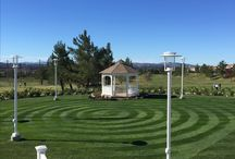 Ceremony Site / We have a gorgeous outdoor ceremony area with a beautiful backdrop of the golf course and the mountains. We can also customize the pattern of the grass.