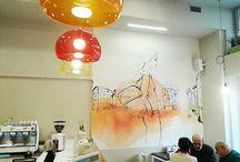 Wallpaper, De Amicis confectionery, Milan, watercolor illustration