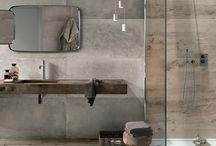 łazienka beton drewno