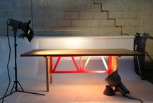 Table in Solid Chesnut and Zubi base laquered in red. / Solid wood tables