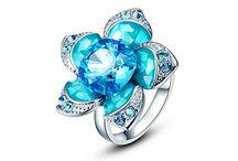 Kanak Flower Design Blue Crystal Swarovski Elements Rings.