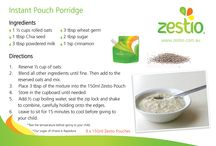 Zestio Pouch Recipe Ideas / Recipes perfect for the Zestio Pouch
