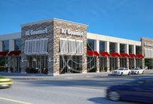 Imperial American Chain Restaurants Design - Alabama, USA / We were tasked with restoring an old building in Alabama. We wanted to put three restaurants in the lobby and offices on the first floor. The three chain restaurants would have space for outside seating as well separate entrances into the building. We also had to consider parking space behind the building according to building laws in the area.