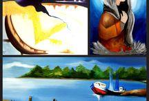 Pinturas à óleo e acrílica