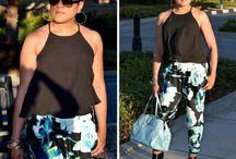 Floral prints and Chiffons / Burda pants 6665 and Nina Ramel top