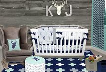 Nursery Themes // Mod Mint Forest / Think rustic meets modern in this perfect combination of colors and antlers.  We are loving the use of weathered wood, worn leather and galvanized metal. A modern hunting crib set, baby bedding in mint, navy and gray. Modern Deer Antler Nursery. https://www.modifiedtot.com