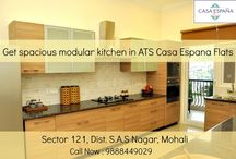 ATS Casa Espana Flats Modular Kitchen / ATS Casa Espana offers luxury kitchen, combining elegance and functionality, blending granite countertops and marble flooring with stainless steel appliances!  To book your apartment, call at 9888449029