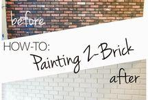 Painted brick interior walls