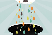 La Nina ~ Rain illustrations / Illustrations about rain. When I'm sad I wear the rain, because it can keep me company, even for a moment the sky is part of me. #Illustrations