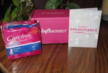 "Influenster Carefree Voxbox / Another Influester box! ‪#‎FreshisFierce‬ @influenster ""I received these products complimentary from Influenster for testing purposes."" April 2015 / by Heather Kaman"