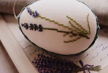 Haftowane pisanki/Hand cross-stitched Easter  eggs