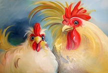 painted roosters