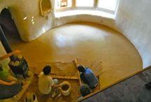 Natural floor options. / Adobe, stone and mud floor ideas.