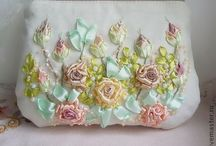 Ribbon embroidery - bags