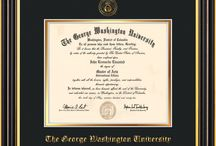 George Washington University - GWU - Diploma Frames & Graduation Gifts! / Official GWU Diploma frames. Exquisitely crafted to exacting specifications for the GWU diploma. Custom framed using hardwood mouldings and all archival materials, including UV glass to prevent fading from sunlight AND indoor incandescent lighting! Each frame exceeds Library of Congress standards for document preservation and includes a 100% lifetime guarantee, ensuring that a hard-earned achievement will be honored and protected for generations. Makes a thoughtful and unique graduation gift!