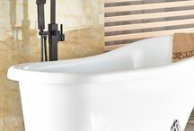 Modern Oil Rubbed Bronze Bathroom Tub Faucet Floor Mounted Tub Filler W/ Hand Shower Swivel Spout