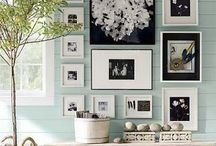 Create A Wall Gallery / 7 Tips for a Creative Wall Gallery 1.Mount ledges for a contemporary & timeless look. 2.Vary frames in shapes, sizes and finishes. 3.Stagger and layer for depth. 4.Mix art, photos and illustrations. 5.Layer framed art with sculptural objects like shells, pine cones, candles and other small objects. 6.  Use color and texture to unite your display. 7.  Make it personal and HAVE FUN with the project!!! / by Indeed Decor
