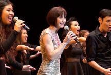 """Susan Egan """"The Belle of Broadway"""" / Tony-nominated as the original """"Belle"""" in Beauty and the Beast, Susan is one of Broadway's most celebrated contemporary performers.  Susan taught a Master's Class to Arcadia High School students, and included some special numbers with the students in her concert."""
