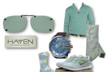 Be Cool  / Add cool factor to your style with gray blues and greens and ClipOn sunglasses from Haven.