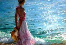 κοπέλα σε ακτή