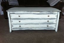 Distressed chalk paint coffee table  / White chalk paint with black detailing