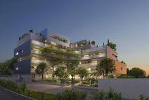 Résidence le Quartz quartier Millénaire à Montpellier 4000 / Le Quartz est une petite résidence de 42 logements du T2 au T5 en un collectif d'habitation en R+4 à R+5, avec une seule entrée. Conçue comme une résidence de villégiature sur la Côte, la résidence Le Quartz propose une architecture actuelle méditerranéenne avec des appartements lumineux et pour la plupart ouverts sur un jardin planté de pins parasols centenaires, de palmiers, bénéficiant d'une orientation optimale au sud-ouest.