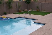 Backyard Landscaping | Low Maintenance / Low maintenance backyards using water conservation methods with desert adaptive plants in the Sonoran Desert.