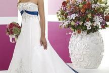 Svatební šaty - bílá/modrá, tyrkysová