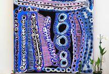 Aboriginal Art - Cool tones / Beautiful Aboriginal artworks supporting ethical trading of Australian Indigenous Art.