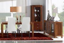 Ohio / Muebles primera calidad de estilo colonia-zen de madera de mindi en color nogal-cerezo con acabos listados.