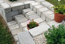 Retaining wall ideas /  ideas for a retaining wall and stair
