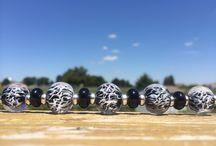 Glass lampwork beads / Wispy White Series
