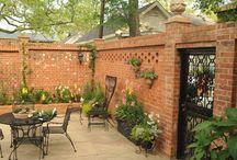 Red brick wall gardens
