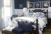 Front Bedroom / Front bedroom furniture and furnishings.  Walls: White Accent Colour: Navy Woodwork: White Floor: Wood light oak stain Doors: Same stain as floor Ceiling: White