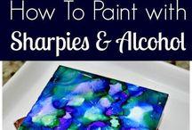 pintando con sharpies y alcohol