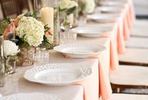 Peach table setting