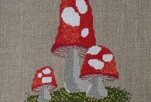 грибы вышивка